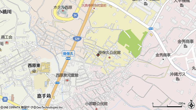 沖縄県中頭郡西原町掛保久周辺の地図