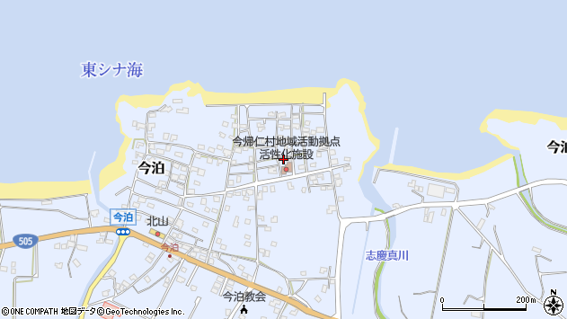 沖縄県国頭郡今帰仁村今泊周辺の地図
