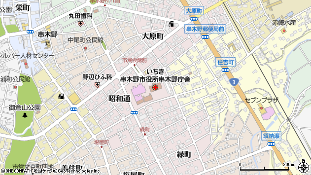 鹿児島県いちき串木野市周辺の地図