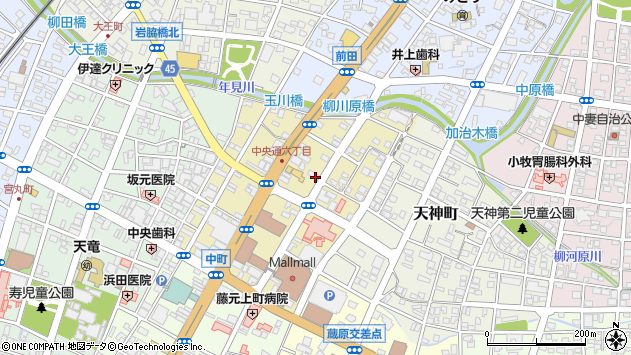 宮崎県都城市中町周辺の地図