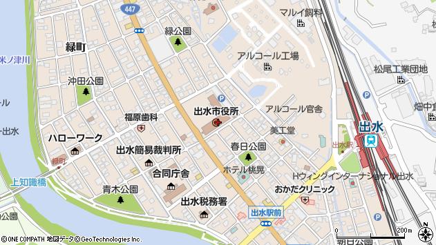 鹿児島県出水市周辺の地図