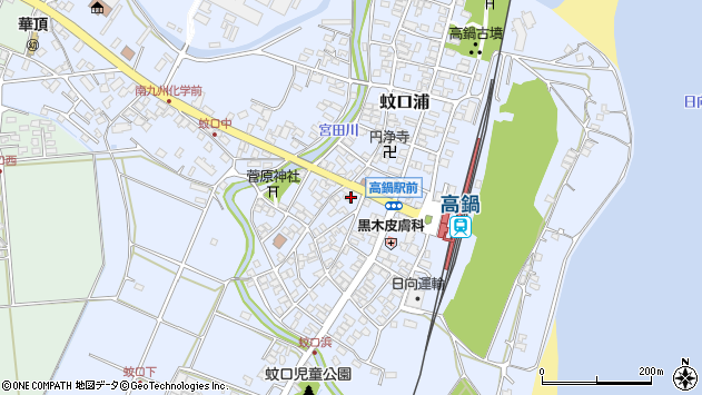宮崎県児湯郡高鍋町蚊口浦周辺の地図