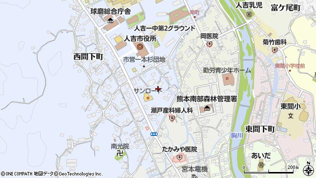 熊本県人吉市西間下町一本杉周辺の地図