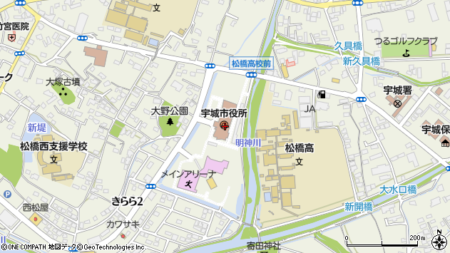 熊本県宇城市周辺の地図