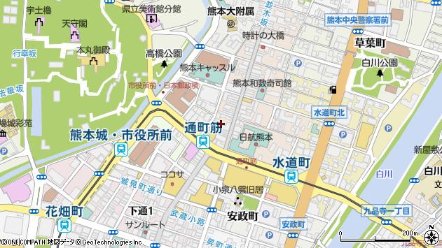 熊本県熊本市中央区上通町周辺の地図