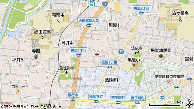 熊本県熊本市中央区黒髪1丁目周辺の地図