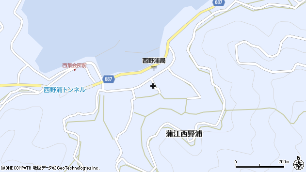 大分県佐伯市蒲江大字西野浦1216周辺の地図