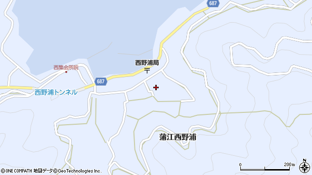 大分県佐伯市蒲江大字西野浦1242周辺の地図
