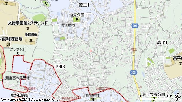 熊本県熊本市北区池田3丁目周辺の地図