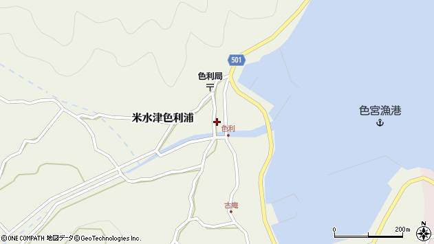 大分県佐伯市米水津大字色利浦348周辺の地図
