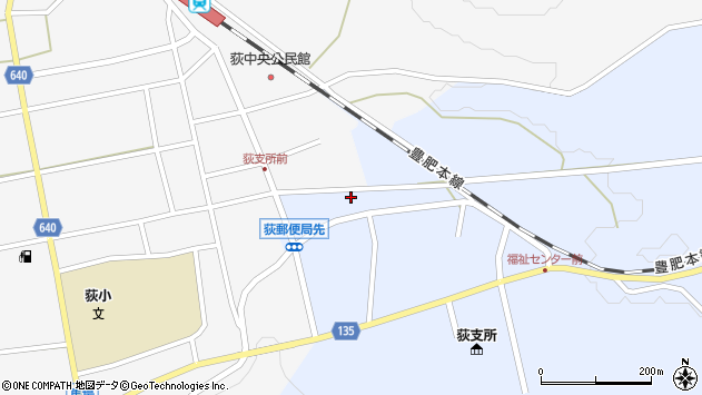 大分県竹田市荻町恵良原726周辺の地図