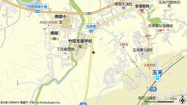 大分県竹田市玉来1052周辺の地図