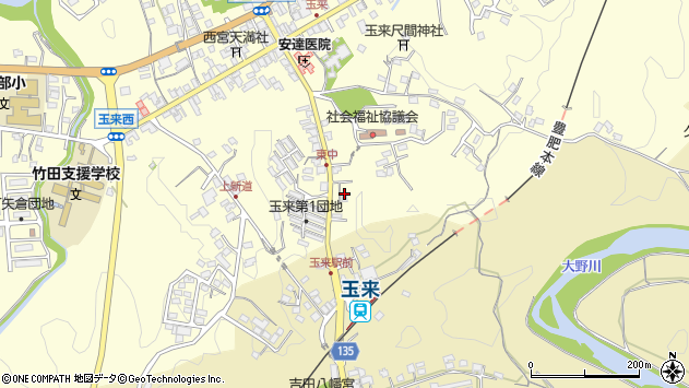 大分県竹田市玉来1274周辺の地図