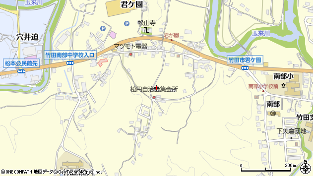 大分県竹田市君ケ園889周辺の地図
