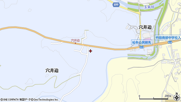 大分県竹田市穴井迫周辺の地図