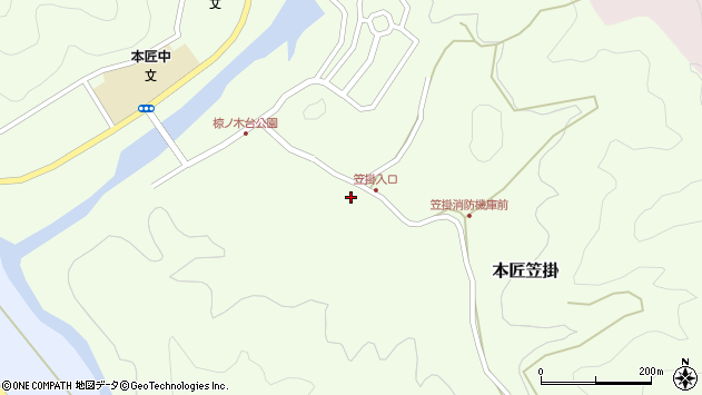 大分県佐伯市本匠大字笠掛227周辺の地図
