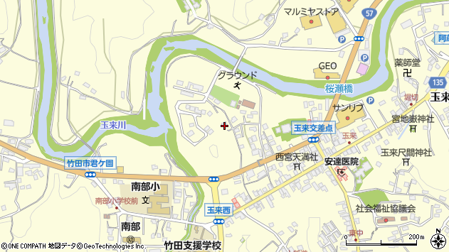 大分県竹田市玉来797周辺の地図