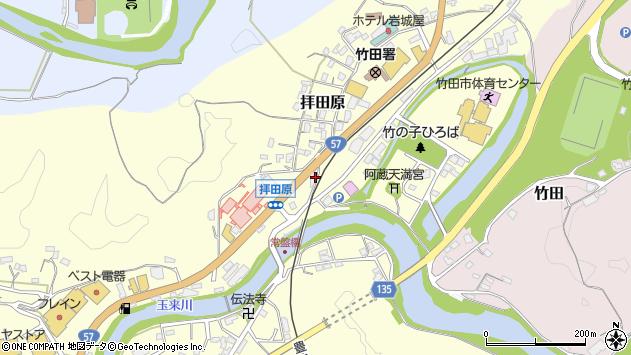 大分県竹田市拝田原周辺の地図