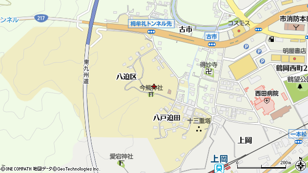 大分県佐伯市上岡八迫区周辺の地図