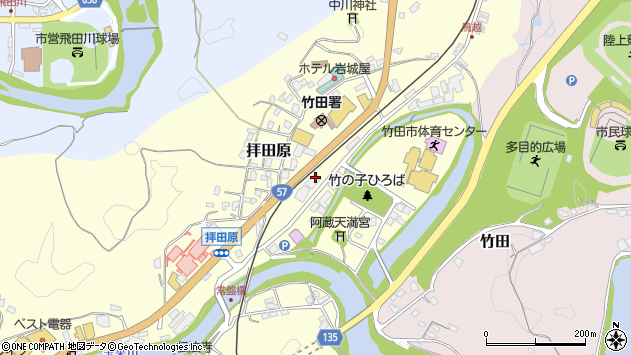 大分県竹田市拝田原241周辺の地図