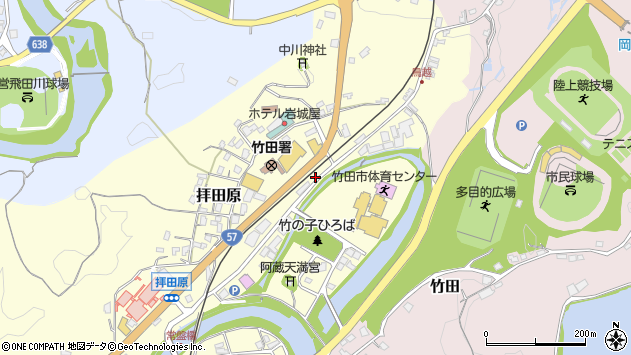 大分県竹田市拝田原215周辺の地図