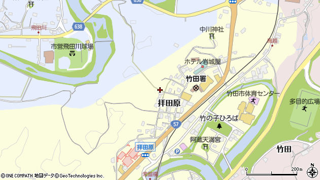 大分県竹田市拝田原山下周辺の地図