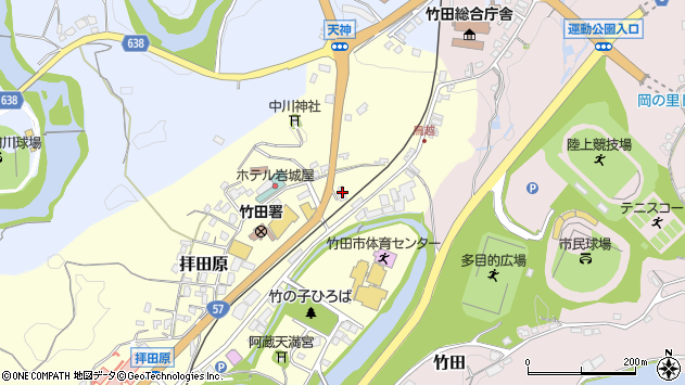 大分県竹田市拝田原201周辺の地図