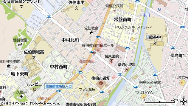 大分県佐伯市中村東町周辺の地図