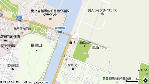 大分県佐伯市東浜周辺の地図