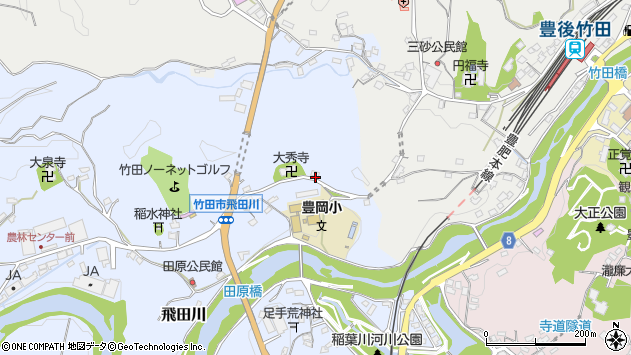 大分県竹田市飛田川1827周辺の地図