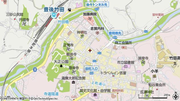 大分県竹田市竹田町下本町周辺の地図