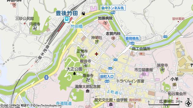 大分県竹田市竹田町東古町周辺の地図
