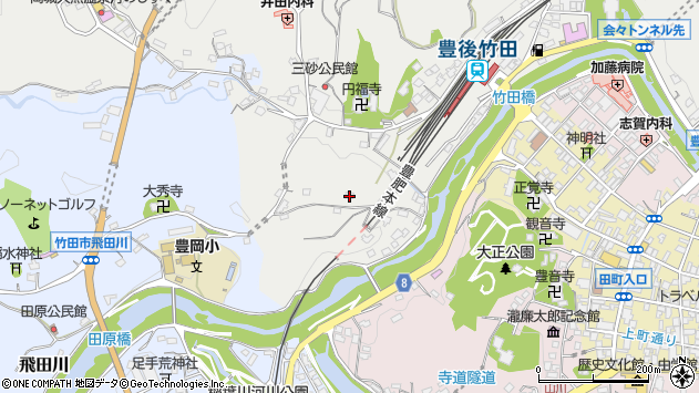 大分県竹田市会々2411周辺の地図