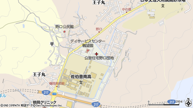 大分県佐伯市鶴望百谷区周辺の地図