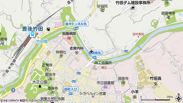 大分県竹田市会々2225周辺の地図