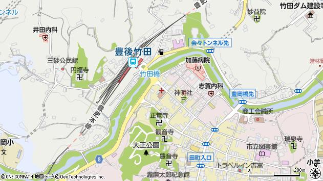 大分県竹田市竹田町西古町周辺の地図