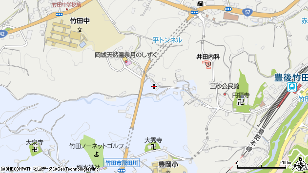 大分県竹田市飛田川3480周辺の地図