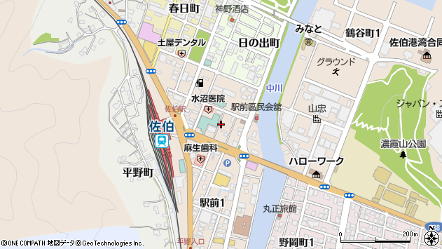 大分県佐伯市駅前周辺の地図
