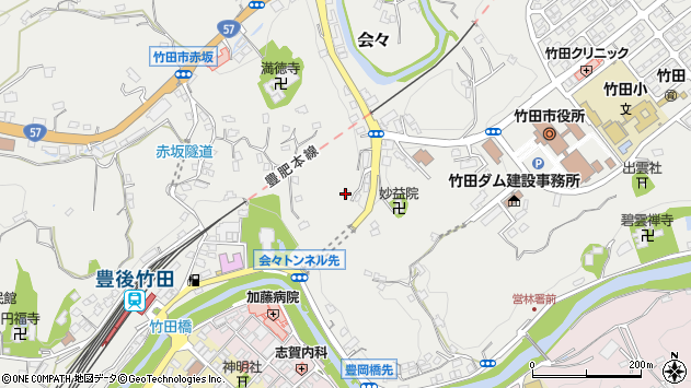 大分県竹田市会々1508周辺の地図