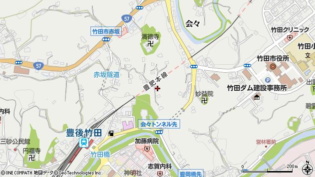 大分県竹田市会々1371周辺の地図