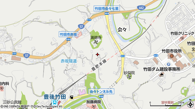 大分県竹田市会々1408周辺の地図