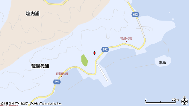 大分県佐伯市荒網代浦周辺の地図