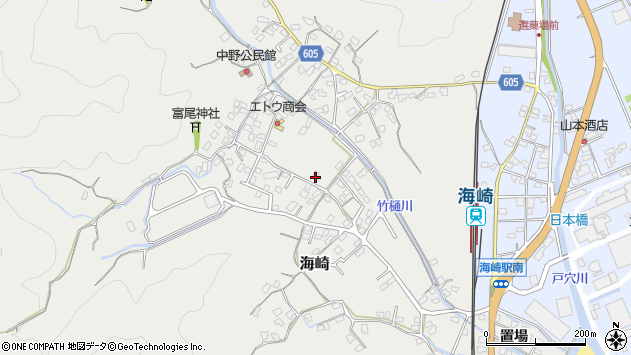 大分県佐伯市海崎中野西区周辺の地図