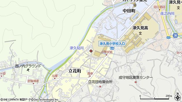 大分県津久見市立花町12周辺の地図