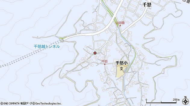 大分県津久見市千怒1190周辺の地図