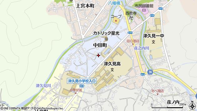 大分県津久見市中田町2周辺の地図