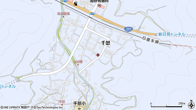 大分県津久見市千怒7345周辺の地図