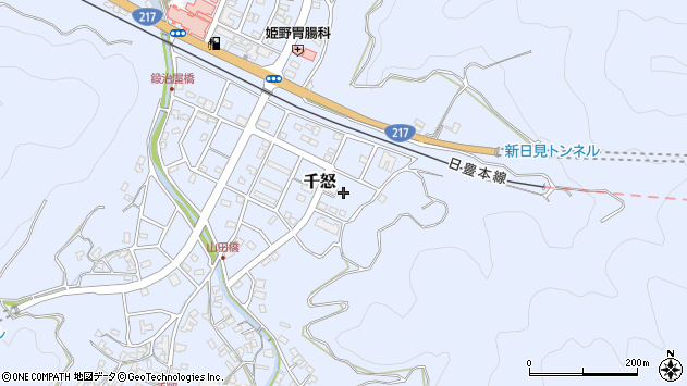 大分県津久見市千怒7365周辺の地図