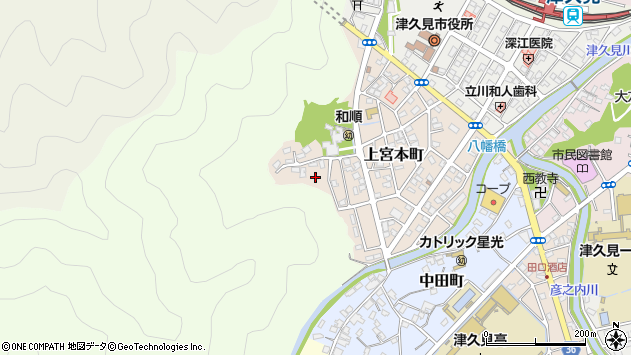 大分県津久見市上宮本町17周辺の地図