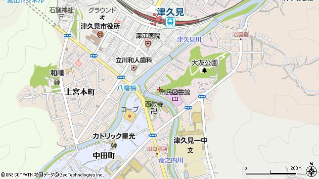 大分県津久見市大友町周辺の地図